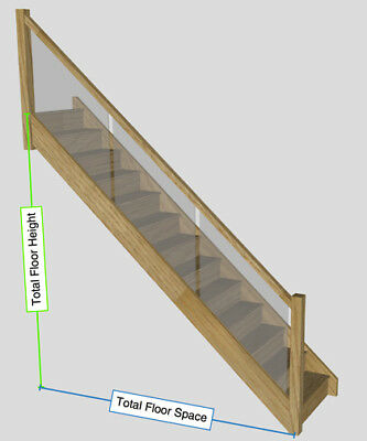 £1888 • Buy White Oak Staircase With Embedded Glass Balustrade To Your Sizes