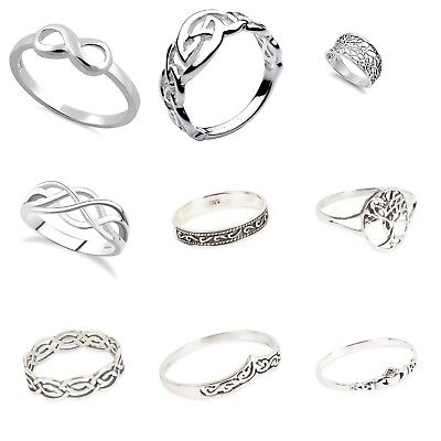 925 Solid Sterling Silver Mixed CELTIC  Design Rings IN Sizes G-Z/ 20 Sizes • 7.99£