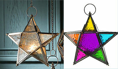 Glass Star Lantern Tea-light Holder Clear Or Multi Coloured-20cm • 17.32$