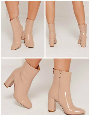£19.99 • Buy MISSGUIDED Patent Heeled Ankle Boots Shoes IN NUDE COLOUR MANY SIZES