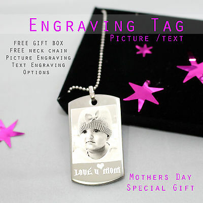 Personalised Photo  Text Engraved Stainless Steel Dogtag Pendent Keepsakes Gift  • 13.99£