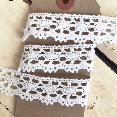 20mm 2cm Pretty White Cotton Crochet Lace Ribbon Trim 1m - 20m Full Roll Wedding • 2.25£