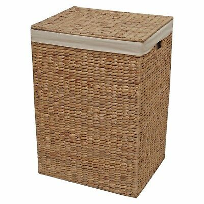 Wicker Laundry Basket Lined Toy Storage Water Hyacinth  • 49.99£
