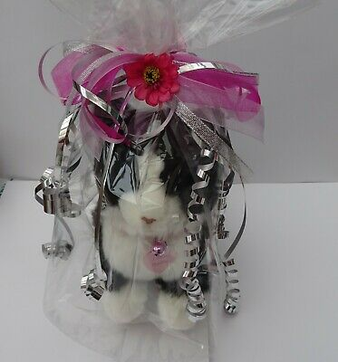 £27.95 • Buy  Gift Wrapped Black & White Cat Cuddly 12  Toy Cat + Collar & Personalised Tag