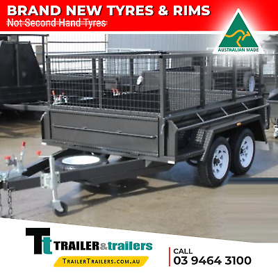 """AU3880 • Buy 8x5 HEAVY DUTY TANDEM BOX TRAILER 2 FOOT AUSSI CAGE – 15"""" HIGH SIDES 