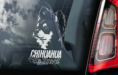£2.99 • Buy CHIHUAHUA Car Sticker, Long Haired Dog Window Bumper Sign Decal Gift Pet - V04