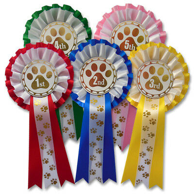 £5.95 • Buy Dog Show Rosettes 1st - 5th, Dog Agility Obedience Paw Print Rosettes - PAW2