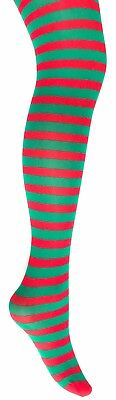 Ladies & Children's Striped Tights-  Christmas Elf - Green  & Red Stripes • 2.99£