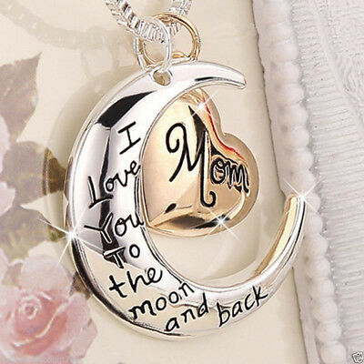 $4.69 • Buy Heart & Moon Mom Necklaces Silver Xmas Gifts For Her Mum Mother Women