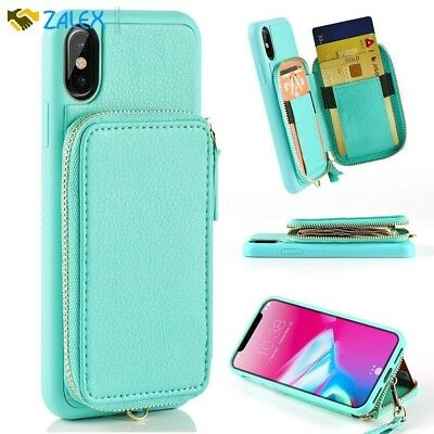 AU46.40 • Buy IPhone X Case With Credit Card Holder ZVE Shockproof Protective Cover Blue New