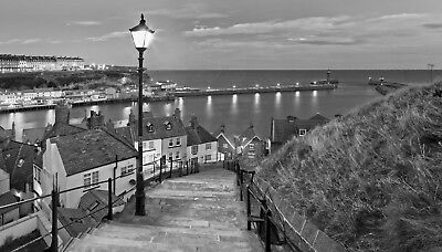 Whitby Yorkshire British Seaside Black White Grey Canvas Picture Wall Art Print • 11.99£