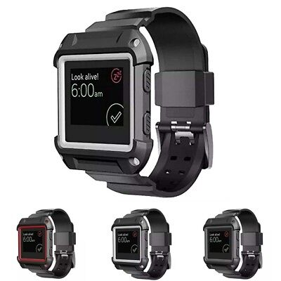 AU33.66 • Buy StrapsCo Protective Case Cover With Silicone Watch Band Strap For Fitbit Blaze
