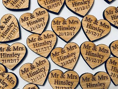 Wooden Oak Love Heart Table Decorations Personalised Wedding Favours Confetti • 9.99£