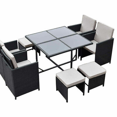 AU615 • Buy 9PC Outdoor PE Wicker Dining Table Set Garden Patio Pool Setting BBQ Furniture