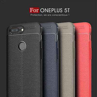 AU4.54 • Buy For OnePlus 5T Luxury Slim Shockproof Soft TPU Leather Rubber Skin Case Cover