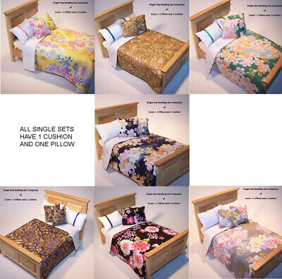 Dolls House Bedding Set - 1/12 Handmade - Oriental Inspired Patterns - All Sizes • 7.49£