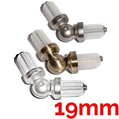 METAL BAY WINDOW CURTAIN POLE / ROD ELBOW CORNER JOINT CONNECTOR Ø19mm • 6.49£