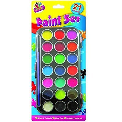 Brand New Art Box 21 Colours Water Paint Set With Paint Brush And Case For Kids • 3.99£