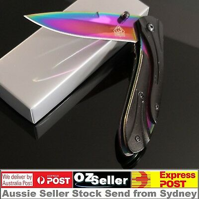 AU16.75 • Buy CSGO Titanium Fade Blade Rainbow Folding Hunting Pocket Knife Camping Knife