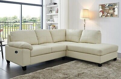 Cream Ivory High Grade Genuine Leather Corner Sofa RH Facing BOSTON • 599£