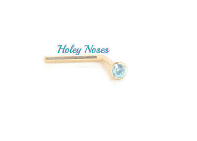 AU39.68 • Buy 9ct Yellow Gold  Blue Crystal Nose Stud Ring Pin Coneset 1.5mm Body Jewellery
