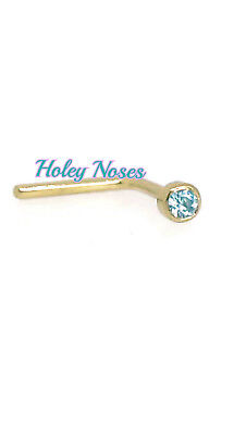 AU39.68 • Buy 9ct Yellow Gold 1.5mm Blue Crystal Nose Stud Ring Pin  Bezel Set Body Jewellery