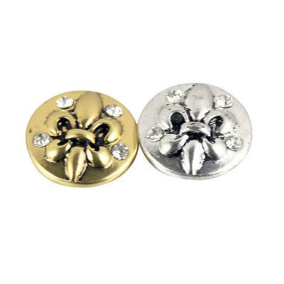 $ CDN48.25 • Buy Wholesale Lots Vintage Alloy Round Rhinestone Snaps Buttons Fit 18mm Jewelry DXS