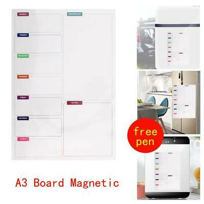 Fridge Notice A3 Board Magnetic Memo Daily Meal Planner Whiteboard With 2 Pens • 6.29£