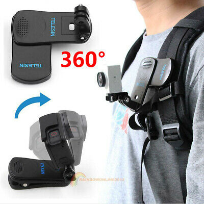 AU15.16 • Buy 360° Rotary Backpack Belt Clip Clamp Mount For Gopro Hero 5 6 Yi 4K Accessories