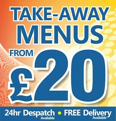 Takeaway Menus Printed On 130gsm Gloss 24hrs To Despatch From £20 • 61£