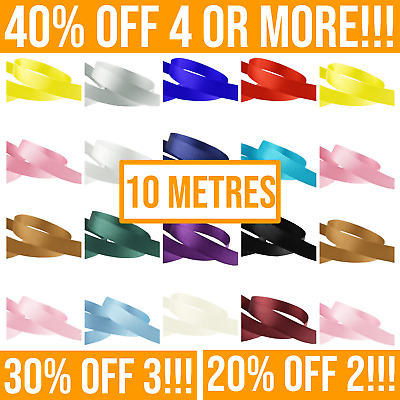 10 Metres, GROSGRAIN Ribbon (Full Rolls). 6mm 10mm 15mm 25mm 38mm Widths • 1.99£