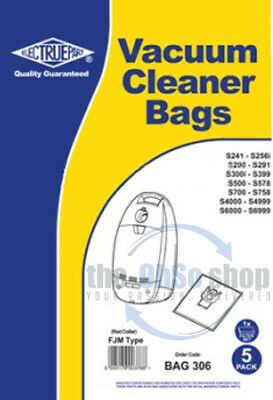 5x MIELE Vacuum Cleaner Bags FJM Red Type S4000, S4210, S4211, S4212, S4212 Plus • 9.24£