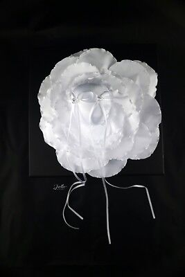 Wedding Ring Pillow Cushion Bearer Decorated Flower Shaped, White • 9.99£
