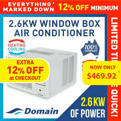AU499 • Buy New Domain 2.6kw Window Wall Box Reverse Cycle Heat + Cool Air Conditioner