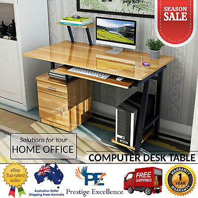 AU179.90 • Buy Computer Table Study Desk Home Office Work PC Station Storage Drawers Book Shelf