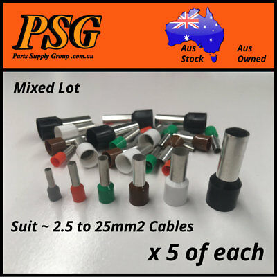 AU15.90 • Buy Cable Ferrules Bootlace Pin Crimp Wire Sleeve Mixed Lot 2.5,4,6,10,16,25mm2