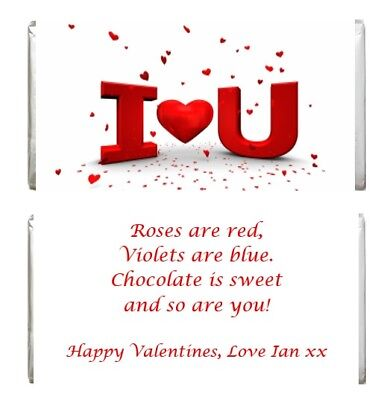 AU4.15 • Buy Personalised Valentines Day Chocolate Wrapper Gift For Him Her Girlfriend Wife