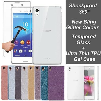 AU7.28 • Buy Tempered Glass & Clear Glitter Gel Case Cover For Sony Xperia XA2 XZ2 Compact L1