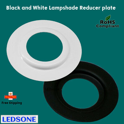 2 X Lamp Shade Adapter Reducer Plate Washer Ring Made From Metal Black / White • 2.97£
