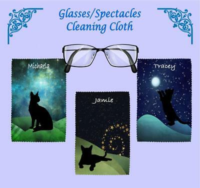Personalised Silhouette Cat Moonscape Glasses/spectacles Cleaning Cloth • 2.75£