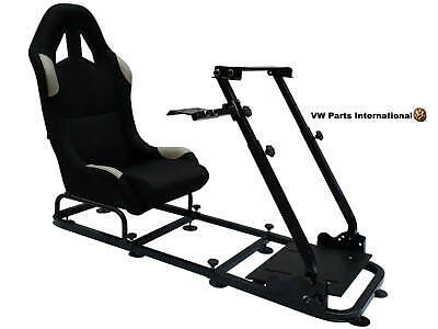 Car Gaming Racing Simulator Frame Chair Bucket Seat PC PS3 PS4 XBox Black/Grey • 254£