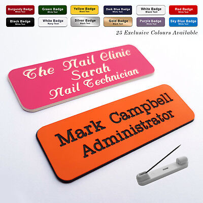 £1.89 • Buy PIN Custom Engraved Name Badges Beauty Therapist Nail Salon Stylist + Fonts
