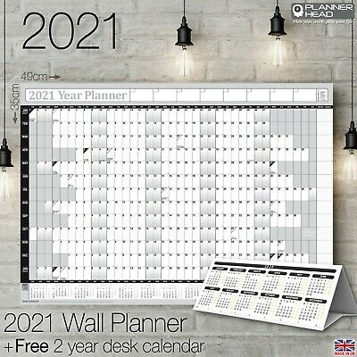2021 Yearly Planner Annual Wall Chart Year Planner & A FREE 2 Year Desk Calendar • 2.95£