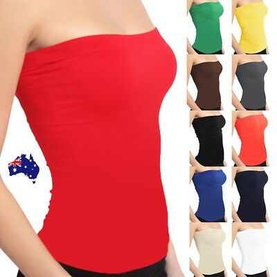 AU16.31 • Buy Women Stretch Strapless Boob Tube Top Solid Color Seamless Sleeveless Singlet