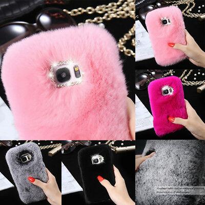 Bling Diamond Warm Soft Faux Furry Fur Cute Warm Case Cover For Various Phones • 4.99£