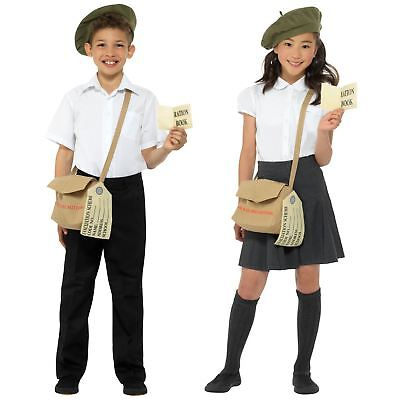 Girl Boy Historical 40s Instant Kit Green Beret Hat Satchel Bag Tag Fancy Dress • 9.07£