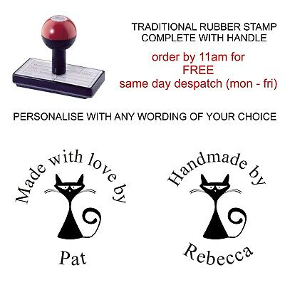 £8.95 • Buy Personalised Handmade By Rubber Stamp Your Name And Cute Cat Design Fun Pet