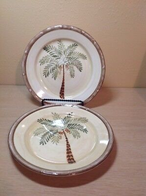 $9.99 • Buy Pair Of Home Trends West Palm 10-3/8  Dinner Plates Palm Tree In Center
