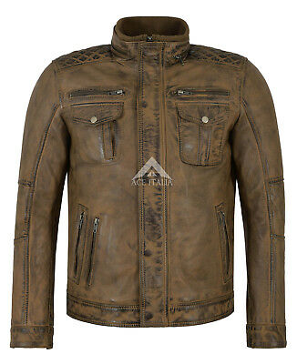 WOLVERINE Mens Jacket Dirty Brown Casual Fashion Biker Style Leather Jacket 1501 • 139.99£