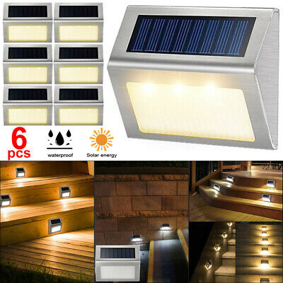 6 PCS LED Solar Powered Fence Wall Lights Garden Lamp Step Path Decking Outdoor • 12.99£